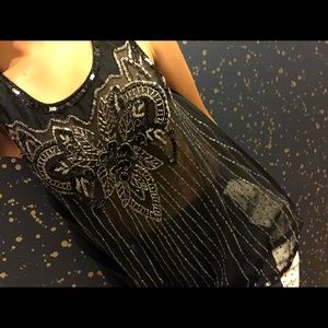 Free People Black Embellished With Sequin blouse